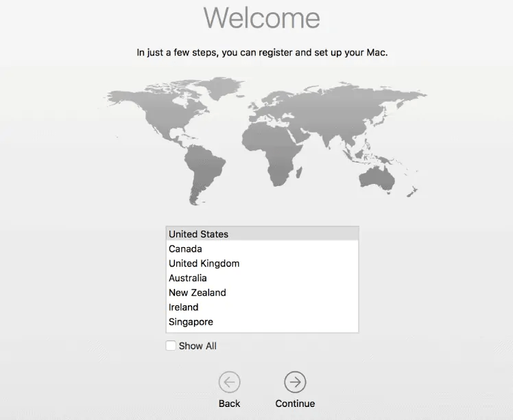 choose country-setup a new mac