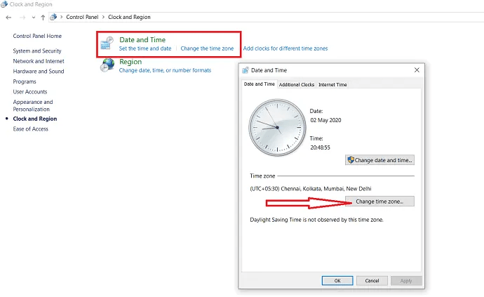 selection of change timezone option.