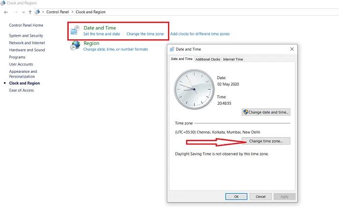 selection of change timezone option.