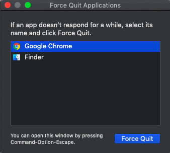 force quit with shortcut