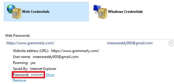 web credentials