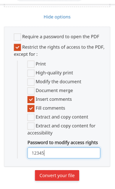Restriction to pdf