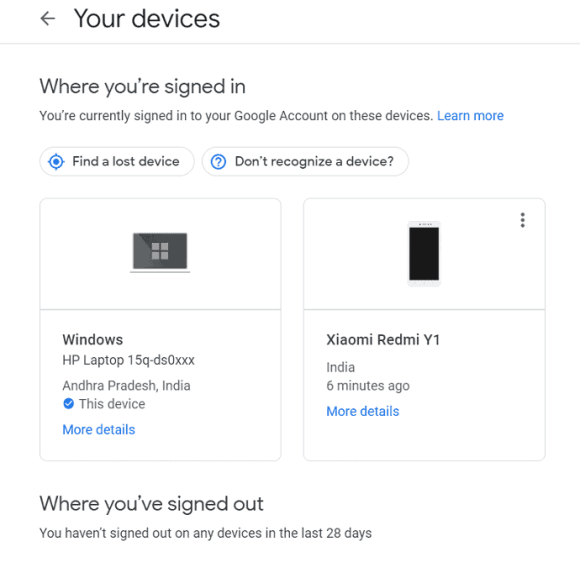 Connecting devices with your google account.