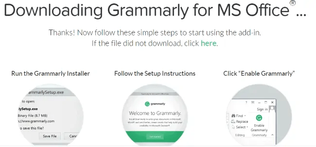 downloading grammarly for Ms office