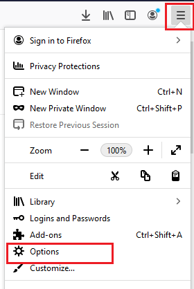 Click on options in the Firefox menu