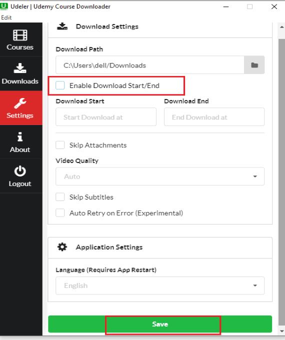 changing settings