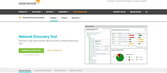 solarwinds network discovery tool-map, discover, and  monitor devices with the network discovery tool.