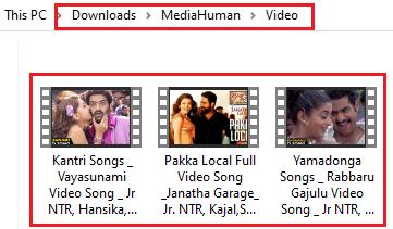 videos in the folder
