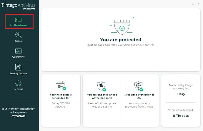 Intego-Antivirus-for-PC-My-Dashboard-options