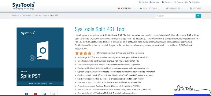 SysTools Split PST tool.