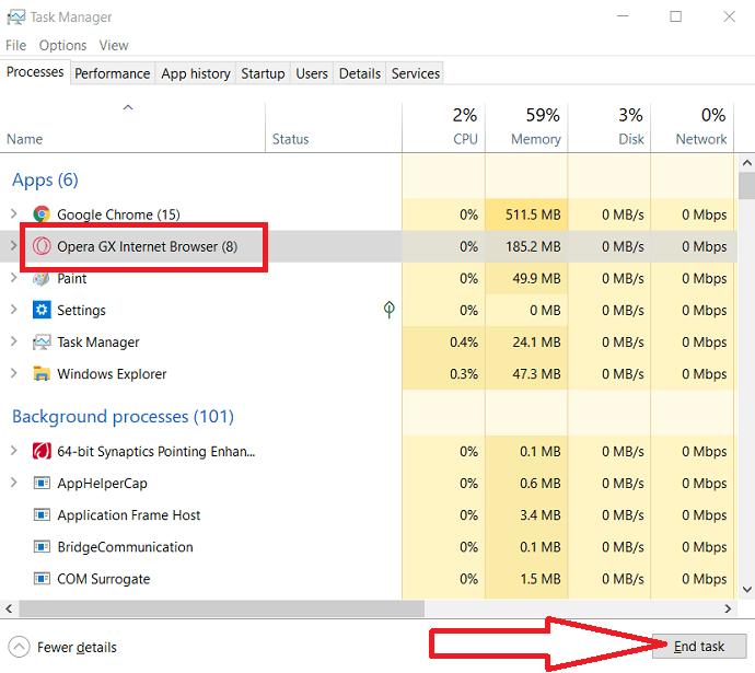 Stop the running Opera GX running tasks.