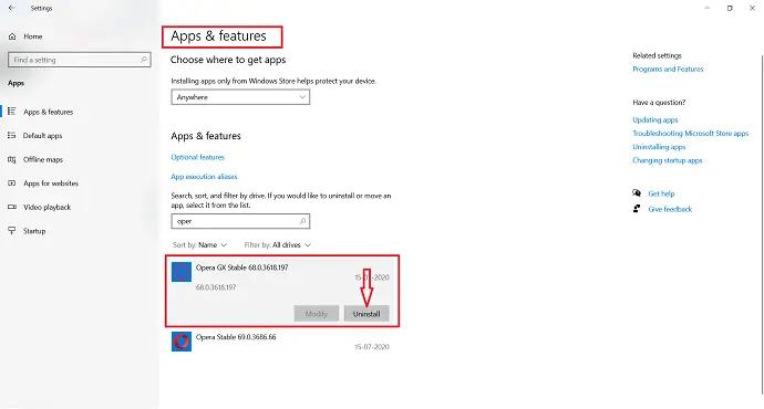 click on opera GX and select uninstall.