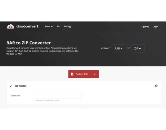 Convert RAR to Zip online using cloudconvert
