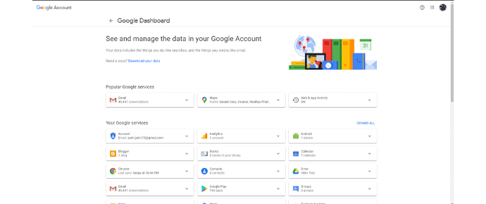 Step 1 Navigate to google dashboard