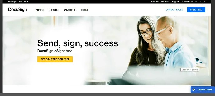 DocuSign-Online Signature Software site Homepage.