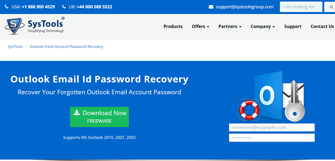 Systools Outlook password recovery.