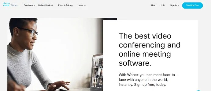 Cisco webex meeting official website page.