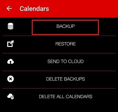 select the backup option