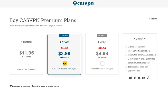 CASVPN pricing and plans
