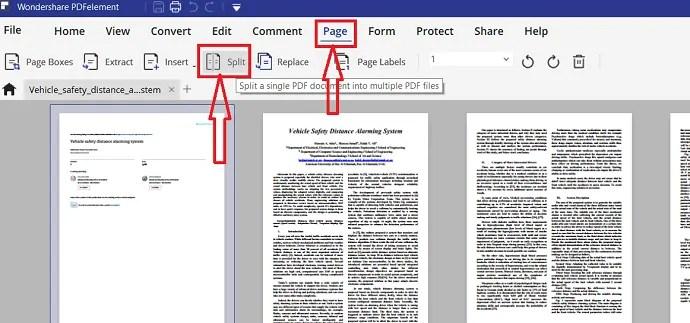 Split PDF file with PDFelement.