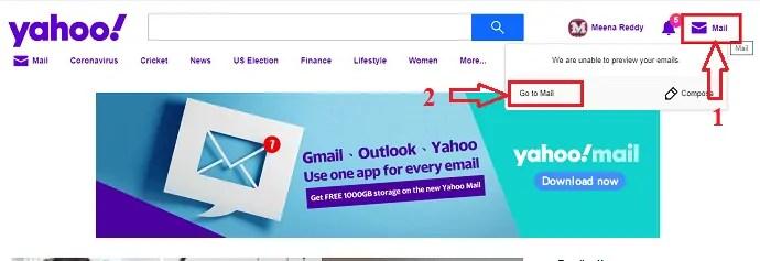 click on goto mail