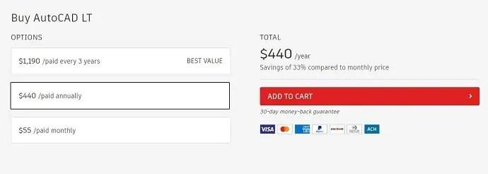 AutoCAD LT pricing