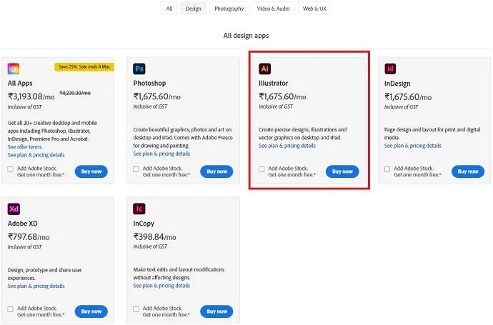 Adobe Pricings