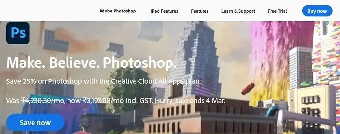 Adobe Photoshop official page