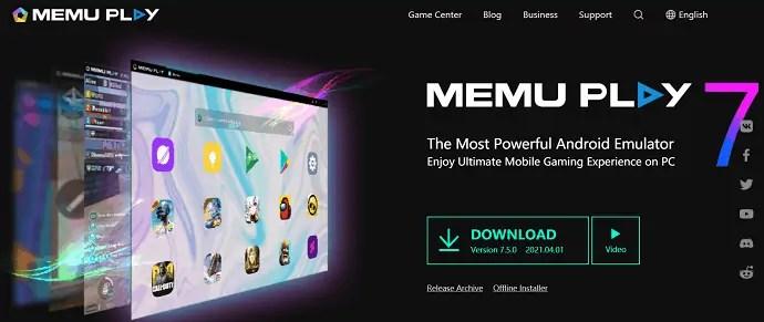 MEmu Play Homepage