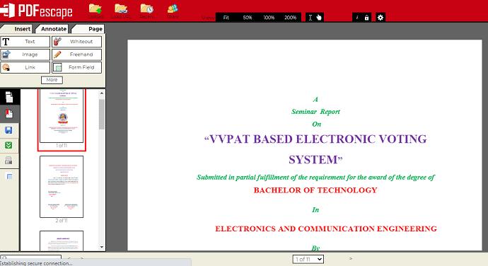 PDFescape PDF view