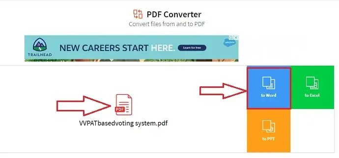 Format selection in SmallPDF