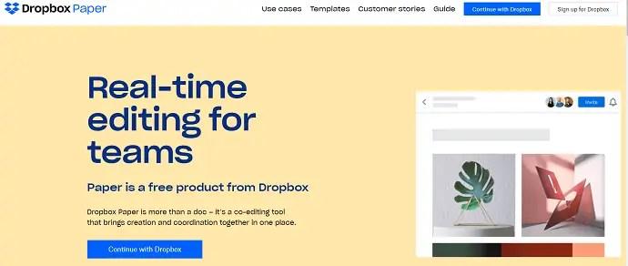 Dropbox paper official site.