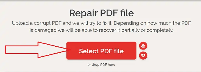 Click on Select PDF file option
