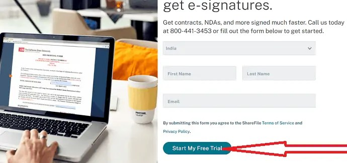 Select start my free trial option.
