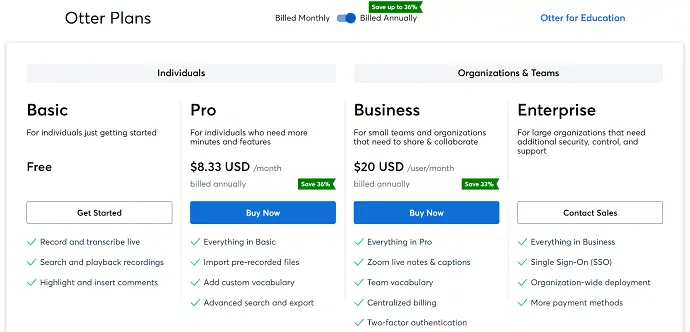Otter Pricing