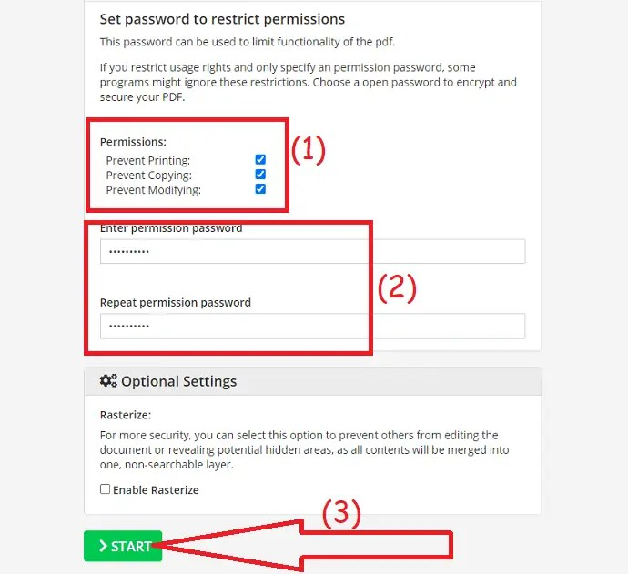 set permission password and click on start