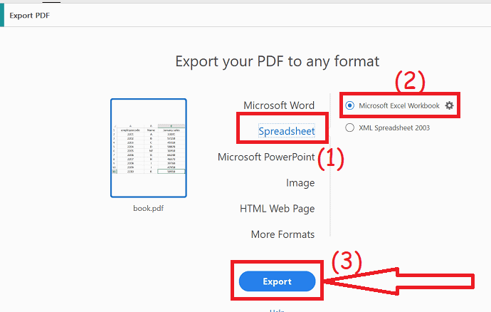 export to Spreadsheets