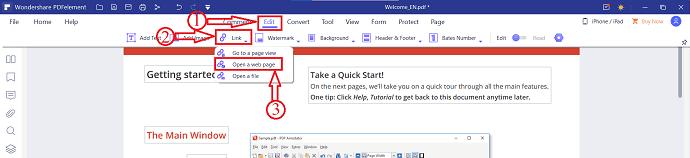 Link option in PDFelement
