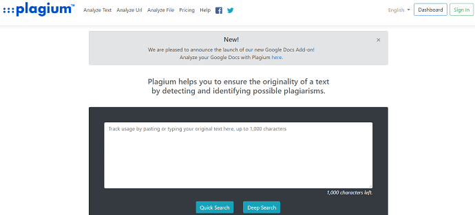 Plagium Homepage