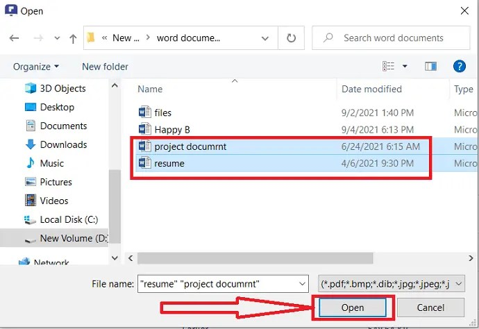 Upload word documents and click on Open