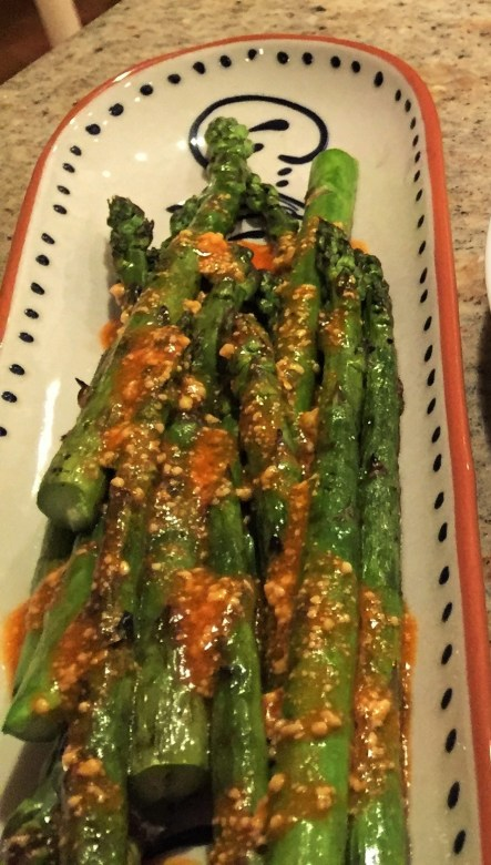 Asparagus with spicy parmesan sauce