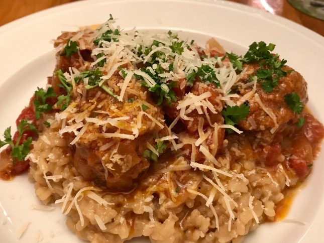 risotto and meatballs