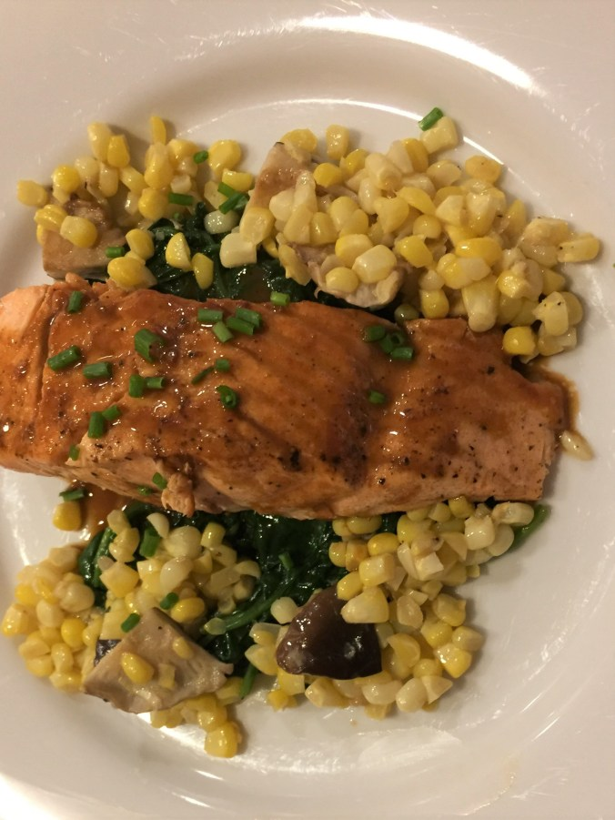 Seared Salmon with Summer Vegetables and Soy Glaze