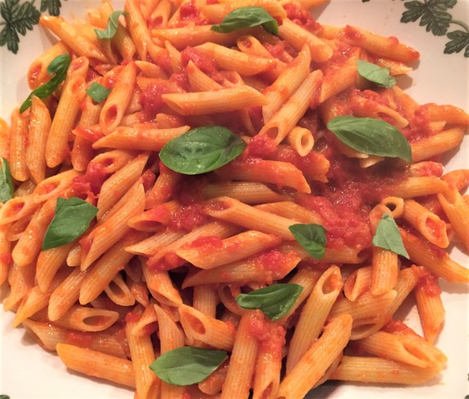 Bowl of penne with sauce (2)