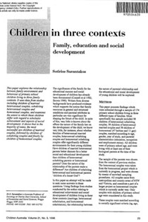 Children in three contexts: Family, education and social development.