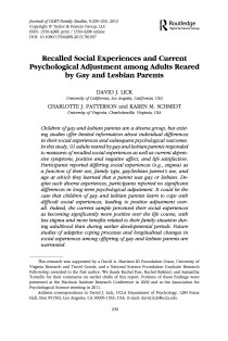 Recalled Social Experiences and Current Psychological Adjustment among Adults Reared by Gay and Lesbian Parents.