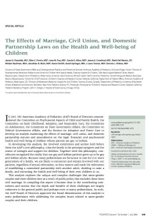 The Effects of Marriage, Civil Union, and Domestic Partnerships Laws on the Health and Well-being of Children.