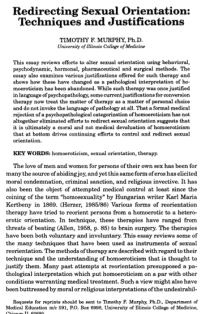 edirecting sexual orientation: Techniques and justifications.