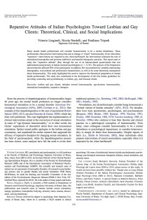 Reparative attitudes of Italian psychologists toward lesbian and gay clients: Theoretical, clinical, and social implications.