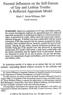 Parental influences on the self- esteem of gay and lesbian youths: A reflected appraisals model.